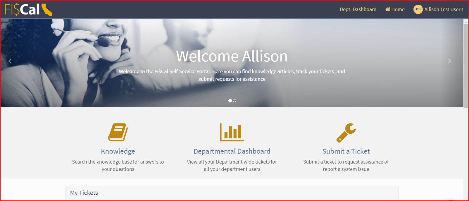 Photo of ServiceNow Self-Service Portal Home Page
